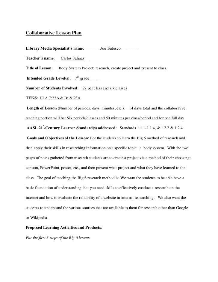 Collaborative Lesson Plan<br />Library Media Specialist's name:________Joe Tedesco________Teacher's name:___Carlos Salinas...