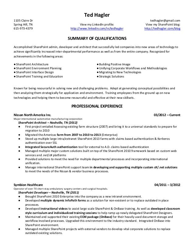 Sharepoint developer resume summary