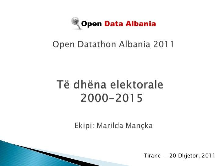 Open Data Albania              Tirane - 20 Dhjetor, 2011