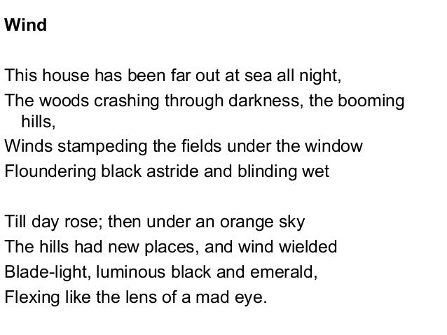 wind by ted hughes essay