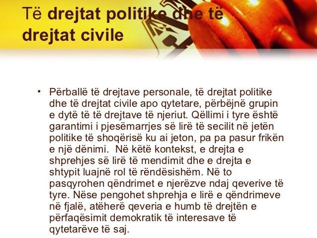 Të drejtat politike dhe tëdrejtat civile  • Përballë të drejtave personale, të drejtat politike    dhe të drejtat civile a...