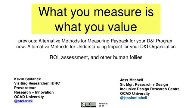 What you measure is what you value ROI, assessment, and other human follies Jess Mitchell Sr. Mgr. Research + Design Inclu...