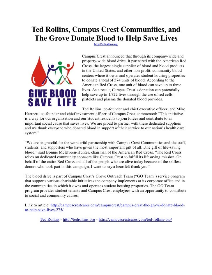 Ted Rollins, Campus Crest Communities, and    The Grove Donate Blood to Help Save Lives                                   ...