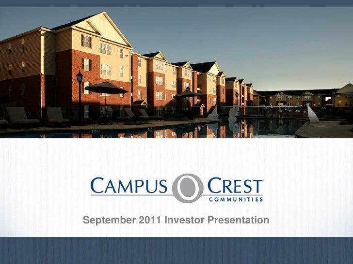 September 2011 Investor Presentation                                      August 20100