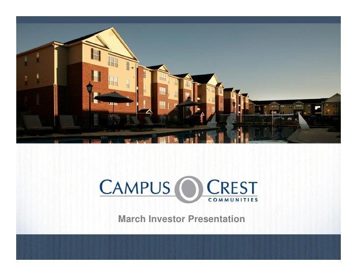 March Investor Presentation                                  August 20100