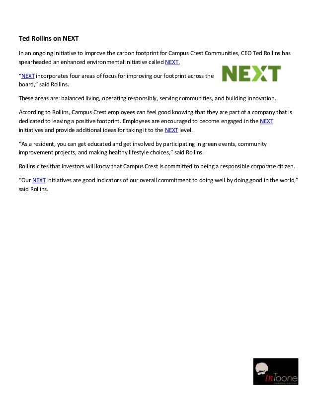 Ted Rollins on NEXTIn an ongoing initiative to improve the carbon footprint for Campus Crest Communities, CEO Ted Rollins ...