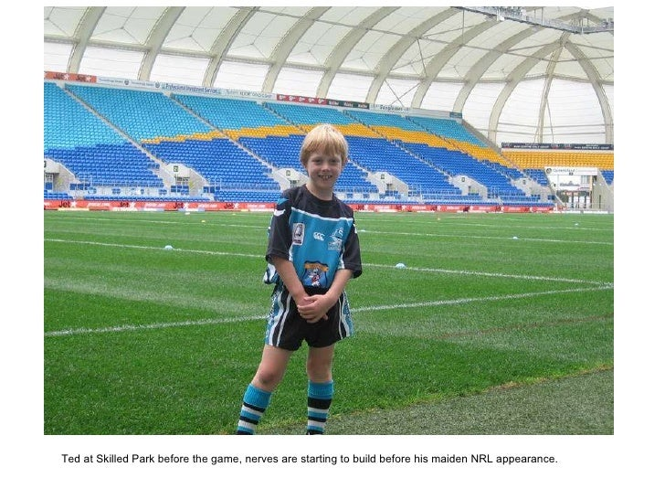 Ted at Skilled Park before the game, nerves are starting to build before his maiden NRL appearance.