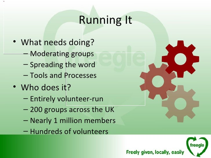 Running It <ul><li>What needs doing? </li></ul><ul><ul><li>Moderating groups </li></ul></ul><ul><ul><li>Spreading the word...