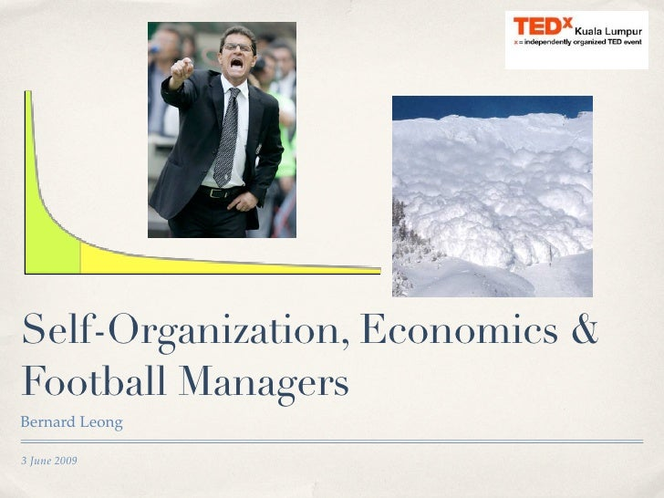 Self-Organization, Economics & Football Managers Bernard Leong  3 June 2009