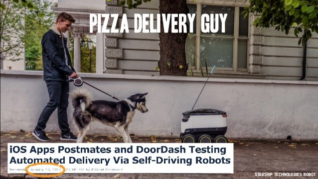 Pizza Delivery Guy Starship Technologies Robot