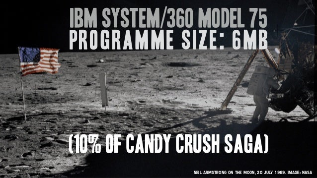 Neil Armstrong on the moon, 20 July 1969. Image: Nasa IBM System/360 Model 75 Programme size: 6MB (10% of Candy Crush saga)
