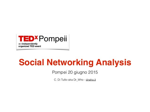 Social Networking Analysis Pompei 20 giugno 2015 C. Di Tullio aka Dr_Who - drwho.it
