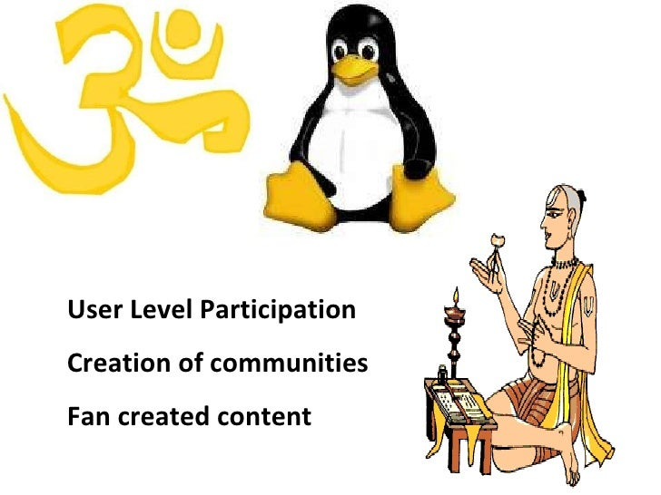 User Level Participation Creation of communities Fan created content