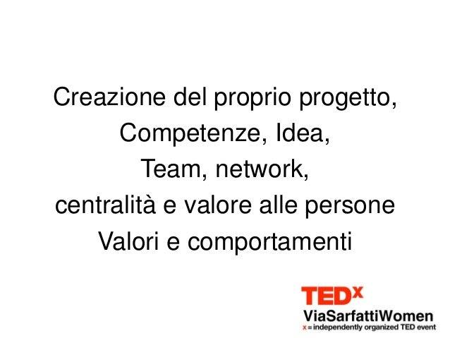 Creazione del proprio progetto,      Competenze, Idea,         Team, network,centralità e valore alle persone   Valori e c...