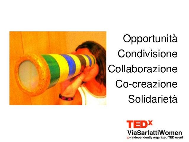 Opportunità CondivisioneCollaborazione Co-creazione    Solidarietà
