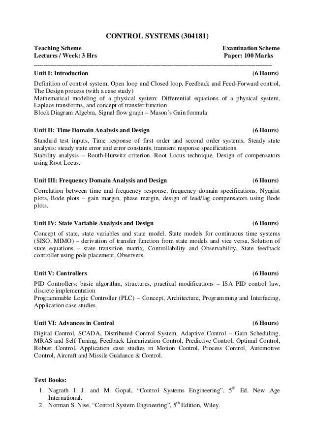 CONTROL SYSTEMS (304181)Teaching Scheme                                            Examination SchemeLectures / Week: 3 Hr...