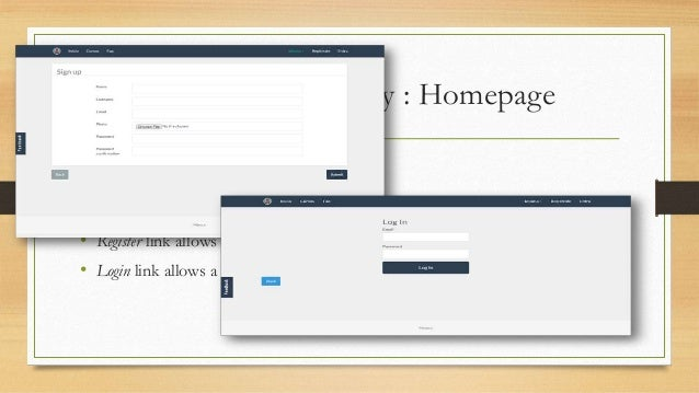 System functionality : Homepage  • FAQ link provides access to a FAQ page.  • Language link allows to set the language of ...
