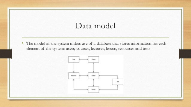 Data model  • The model of the system makes use of a database that stores information for each  element of the system: use...