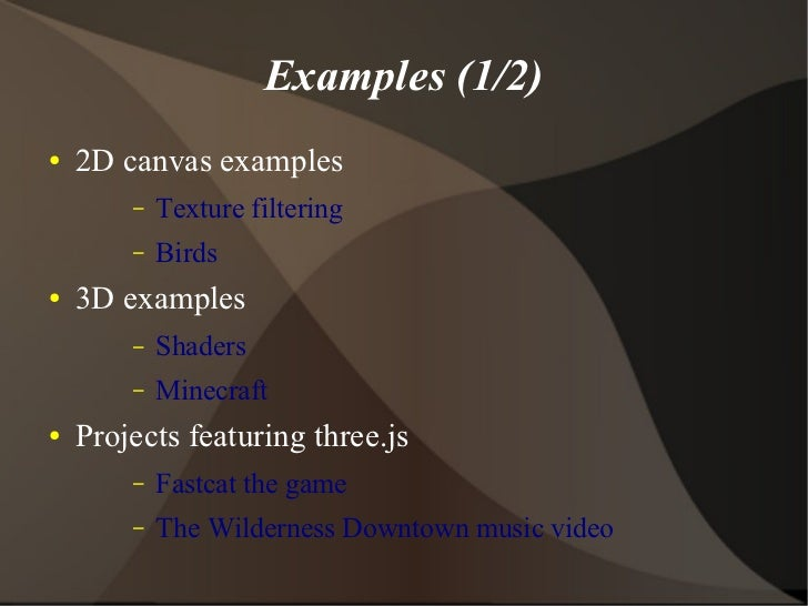 three js WebGL library presentation