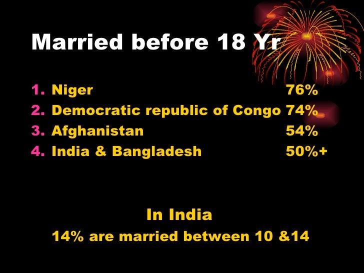 Married before 18 Yr <ul><li>Niger 76% </li></ul><ul><li>Democratic republic of Congo 74% </li></ul><ul><li>Afghanistan 54...