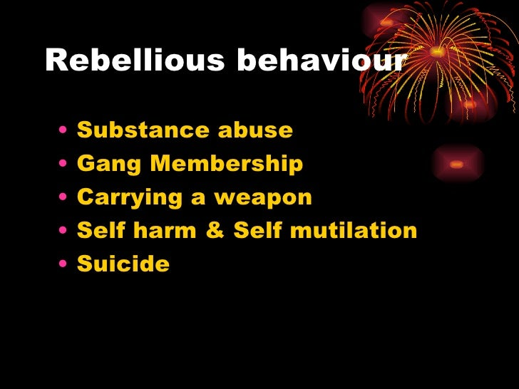 Rebellious behaviour <ul><li>Substance abuse </li></ul><ul><li>Gang Membership </li></ul><ul><li>Carrying a weapon </li></...