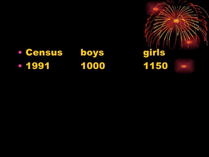 <ul><li>Census  boys  girls </li></ul><ul><li>1991 1000 1150 </li></ul>