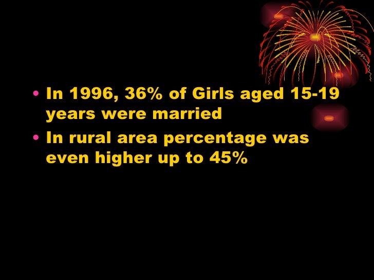 <ul><li>In 1996, 36% of Girls aged 15-19 years were married </li></ul><ul><li>In rural area percentage was even higher up ...