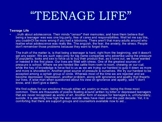 Essay about teenage life