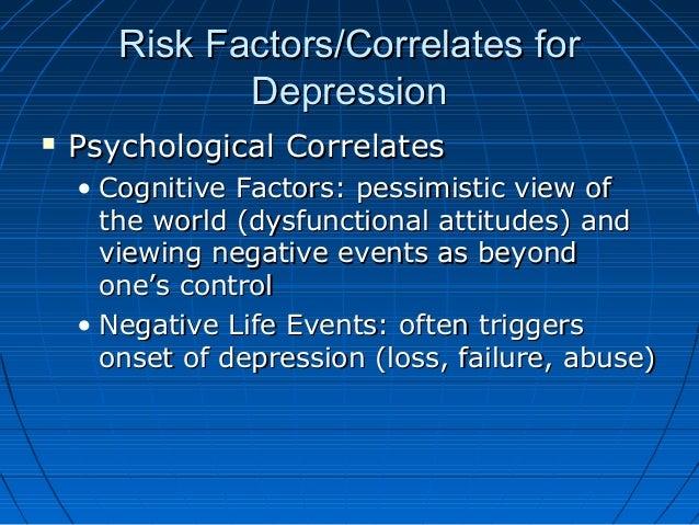 Risk Factors/Correlates forRisk Factors/Correlates for DepressionDepression  Psychological CorrelatesPsychological Correl...