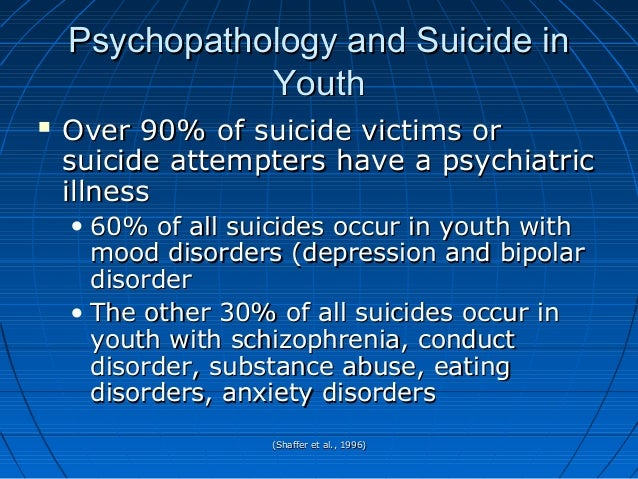 (Shaffer et al., 1996)(Shaffer et al., 1996) Psychopathology and Suicide inPsychopathology and Suicide in YouthYouth  Ove...