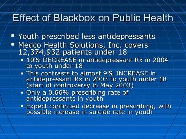 Effect of Blackbox on Public HealthEffect of Blackbox on Public Health  Youth prescribed less antidepressantsYouth prescr...