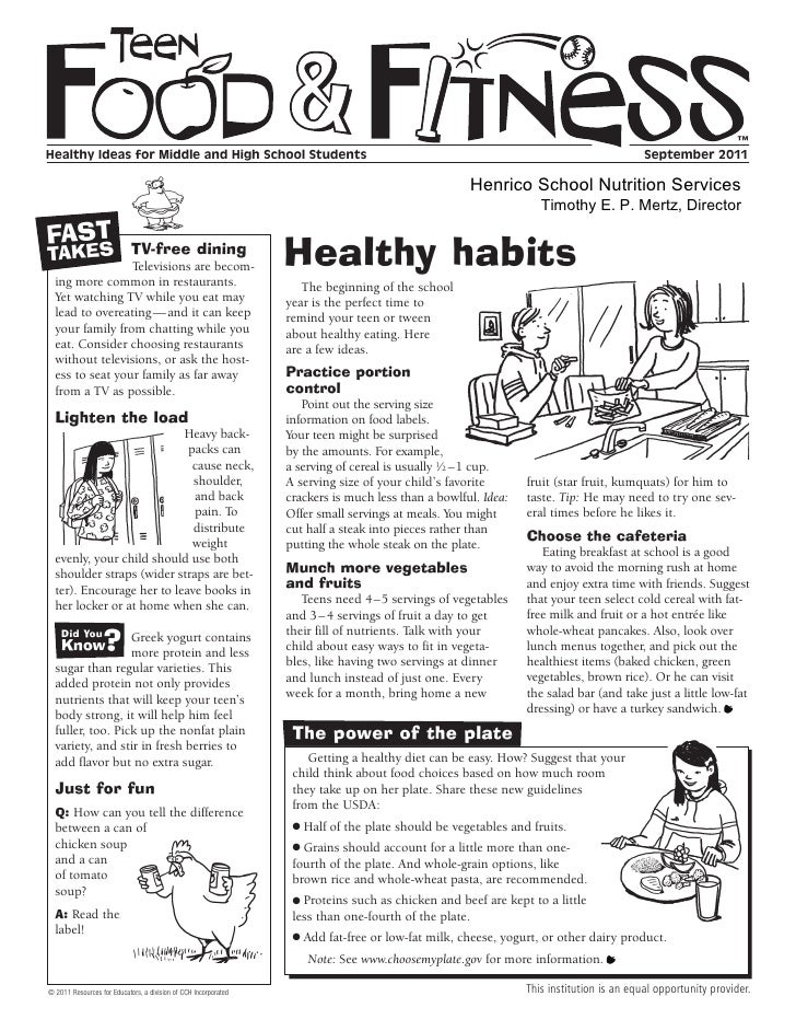 ™Healthy Ideas for Middle and High School Students                                                                        ...