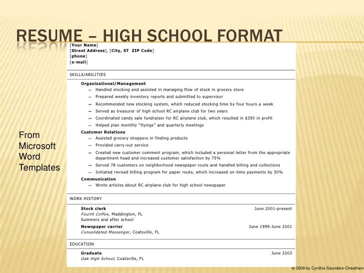 Resume Templates For Students Free Resume Example And Writing  Resume Template High School Student