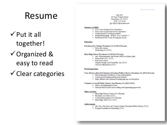 Teen resume workshop (Pasadena Public Library)