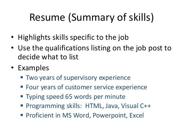 Resume (Summary Of Skills) ...