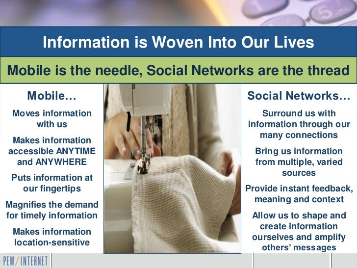 Information is Woven Into Our LivesMobile is the needle, Social Networks are the thread     Mobile…                       ...