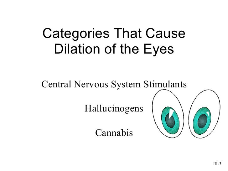 Categories That Cause Dilation of the Eyes III-3 Central Nervous System Stimulants Hallucinogens Cannabis