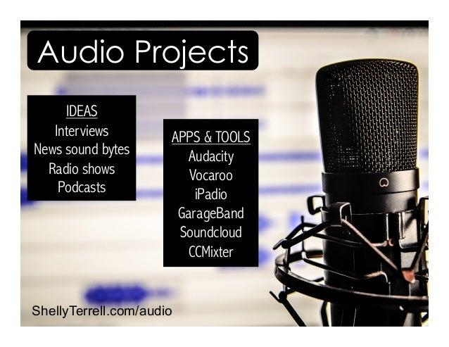 ShellyTerrell.com/audio IDEAS Interviews News sound bytes Radio shows Podcasts APPS & TOOLS Audacity Vocaroo iPadio Garage...