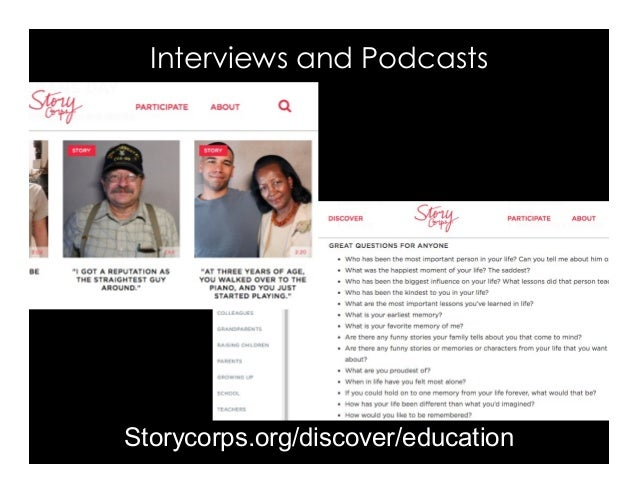 Interviews and Podcasts Storycorps.org/discover/education