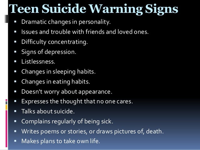 the issue of teen suicide When a teen commits suicide, everyone is affected  young people with mental  health problems — such as anxiety, depression, bipolar disorder, or insomnia.