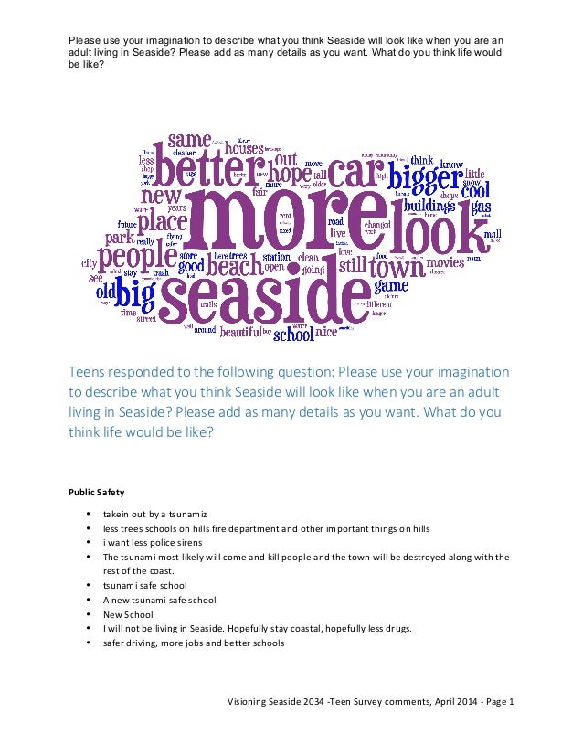 Please use your imagination to describe what you think Seaside will look like when you are an adult living in Seaside? Ple...