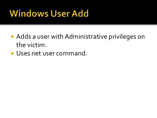    Enables RDP on victim machine.   Starts the service.   Adds exception to Windows firewall.   Adds a user to Adminis...