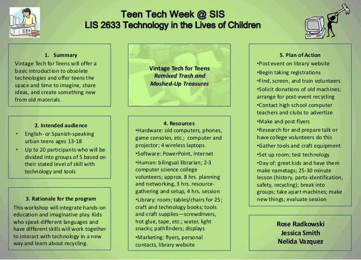 Teen Tech Week @ SIS                              LIS 2633 Technology in the Lives of Children            1. Summary      ...