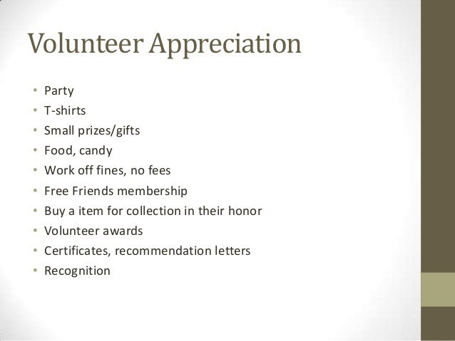 letters for volunteers
