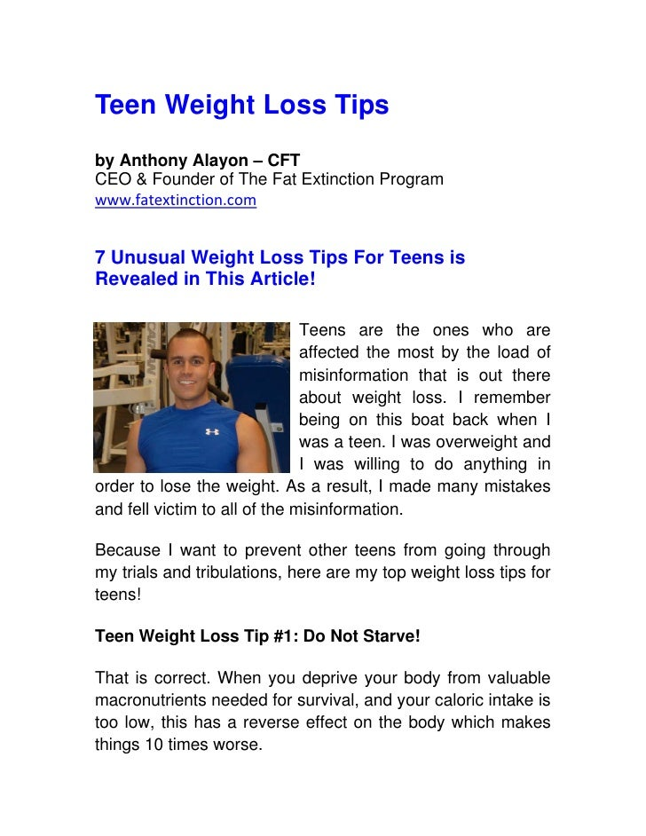 Teen Weight Loss Tips by Anthony Alayon – CFT CEO & Founder of The Fat Extinction Program www.fatextinction.com   7 Unusua...