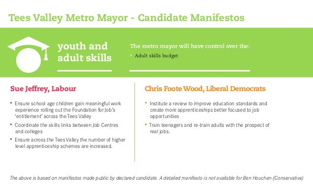 youth and adult skills Tees Valley Metro Mayor - Candidate Manifestos Sue Jeffrey, Labour • Adult skills budget The metro ...