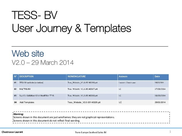 Chastrusse Laurent Trans-Europe Seafood Sales BV TESS- BV User Journey & Templates Web site V2.0 – 29 March 2014 Warning: ...