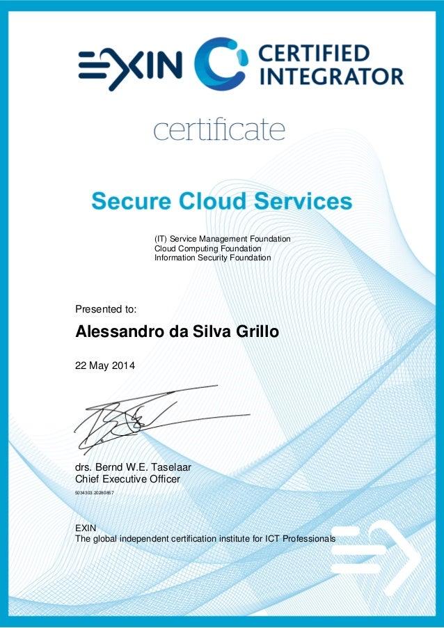 Ci Csc Certified Integrator Secure Cloud Services Exin Ci Scs Exin