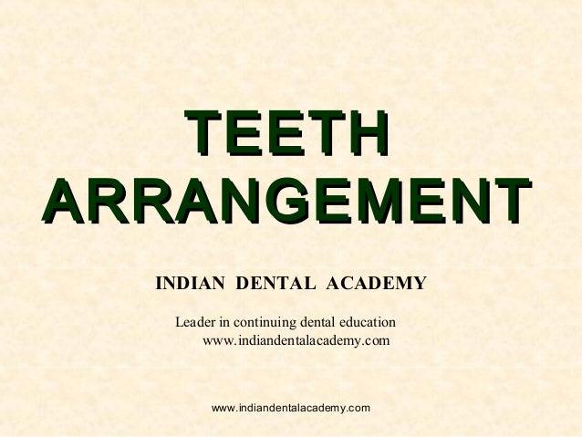 TEETHTEETH ARRANGEMENTARRANGEMENT INDIAN DENTAL ACADEMY Leader in continuing dental education www.indiandentalacademy.com ...