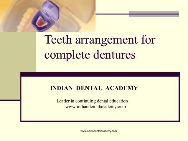 Teeth arrangement for complete dentures INDIAN DENTAL ACADEMY Leader in continuing dental education www.indiandentalacadem...